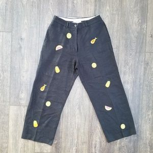 Pants - Jillian Jones Black Fruit Pants - size 4